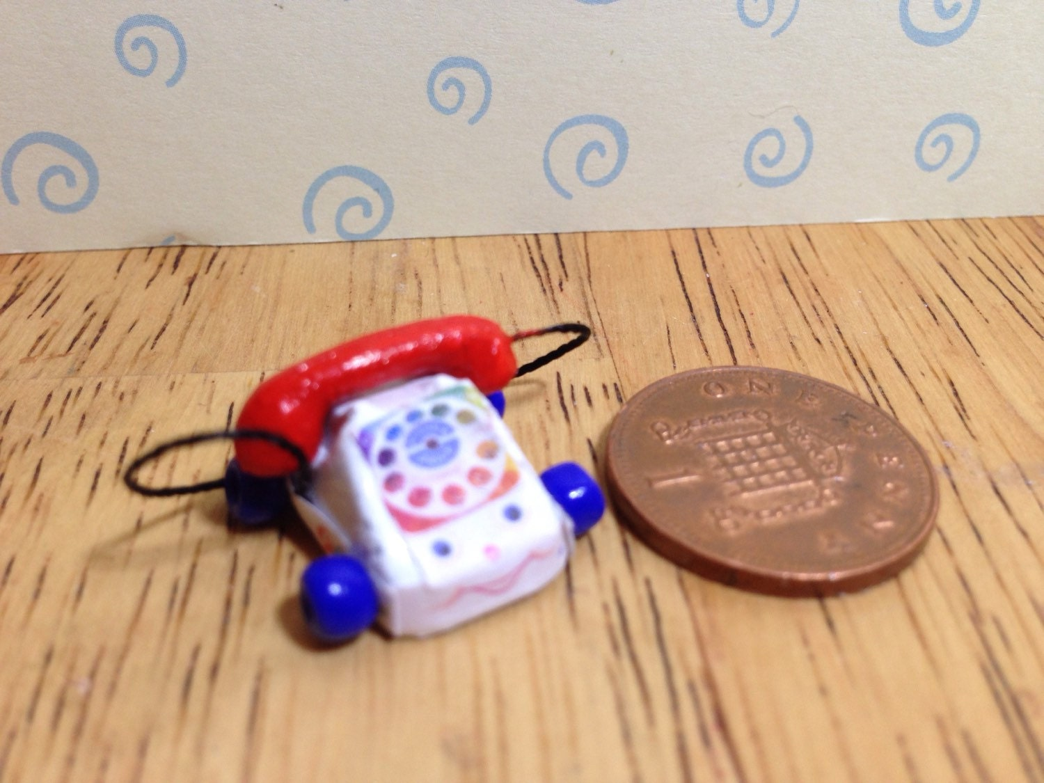 Hand made Dolls house Miniature replica vintage fisher price chatter phone 112 scale