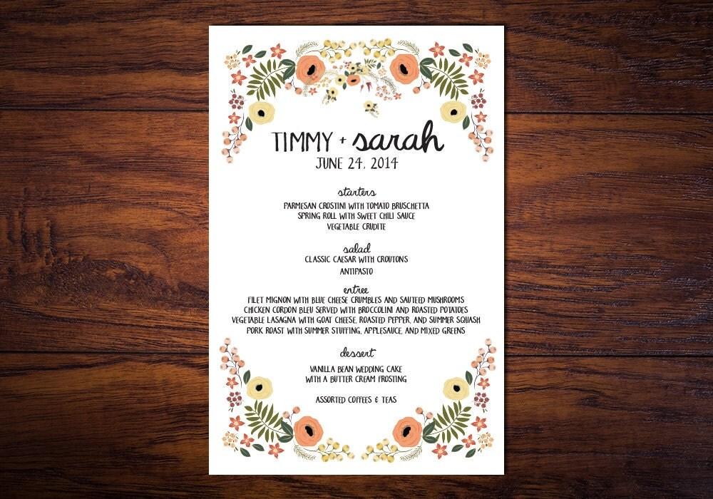 Organically Yours Summer Wedding Menu By WrittenInDetail