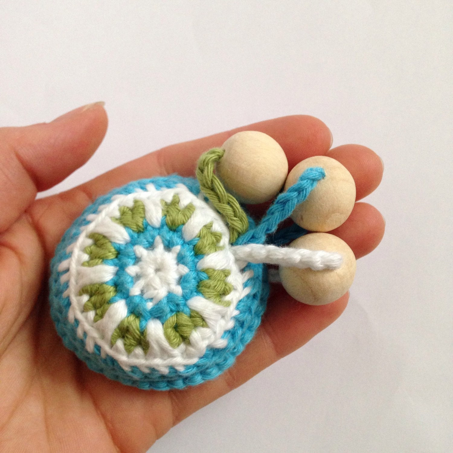 Teething toy crochet rattle with wooden beads