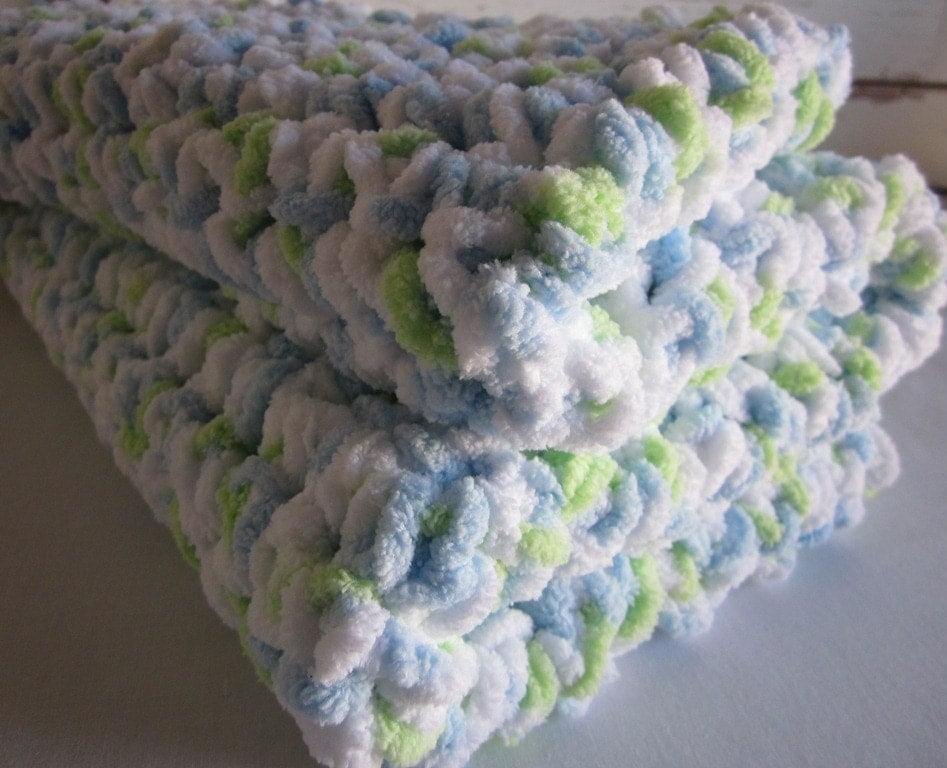 Marshmallow Crochet Baby Blanket Pattern : SALE Plush super-soft crocheted baby blanket by ...