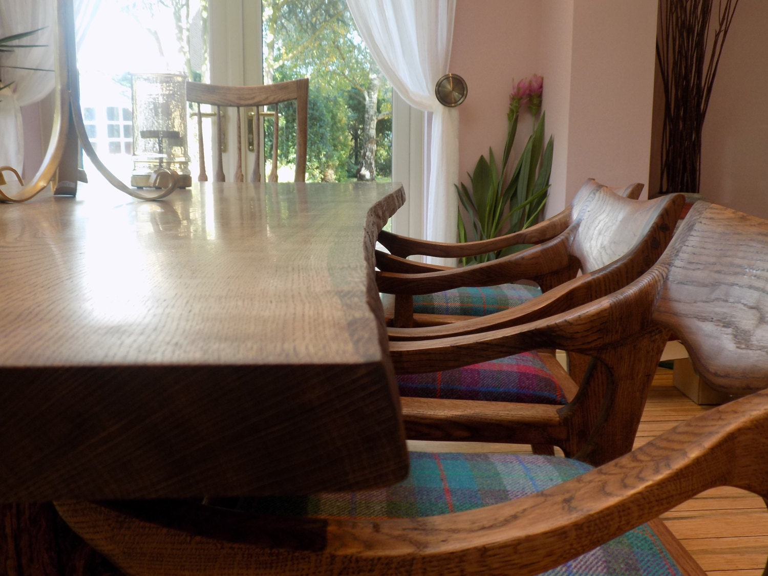 Sculpted Dining Set Live Edge Table Tree stump Table Harris Tweed Oak Chairs Dining Table and Eight chairs