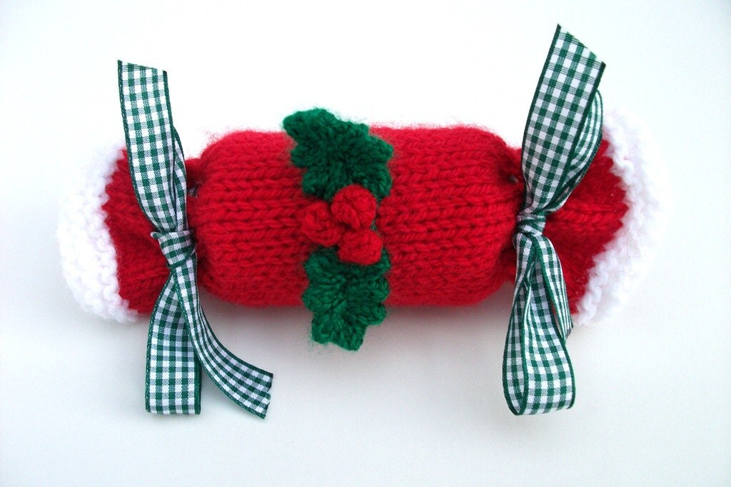 Christmas cracker hand knitted medium size. by madmumknits