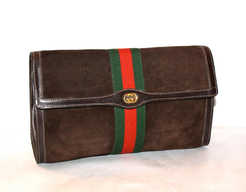 Vintage Gucci Clutch Brown Suede Large Web Stripe By