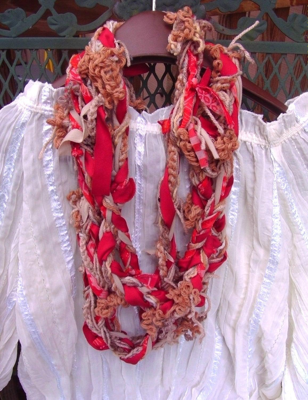 Skinny Scarf - Crochet Braided, OOAK