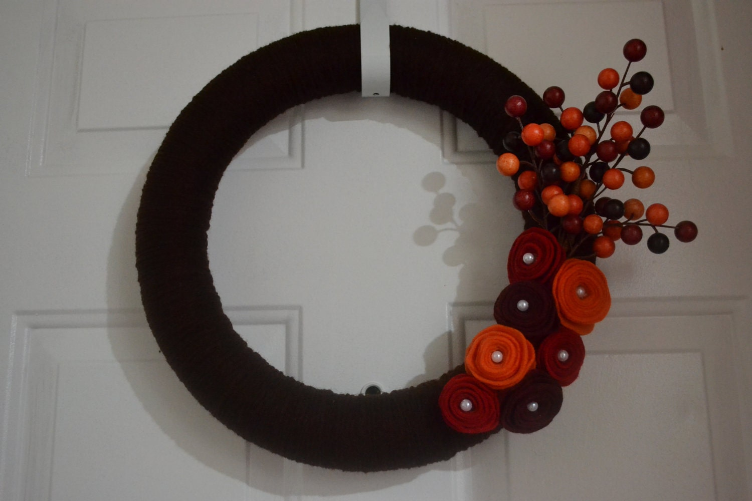 Fall Yarn Wreath with Felt Flowers - 14""
