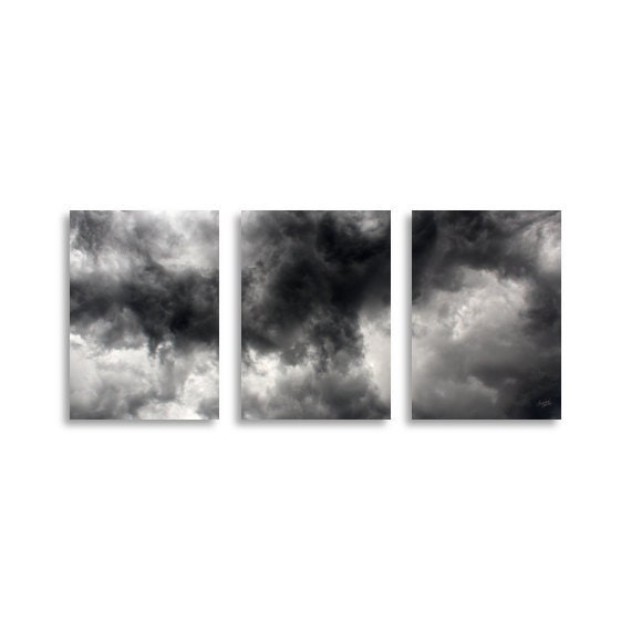 Stormy Summer Sky original photography art prints set of 3, triptych photography prints, storm photography - IrishVikingDesigns