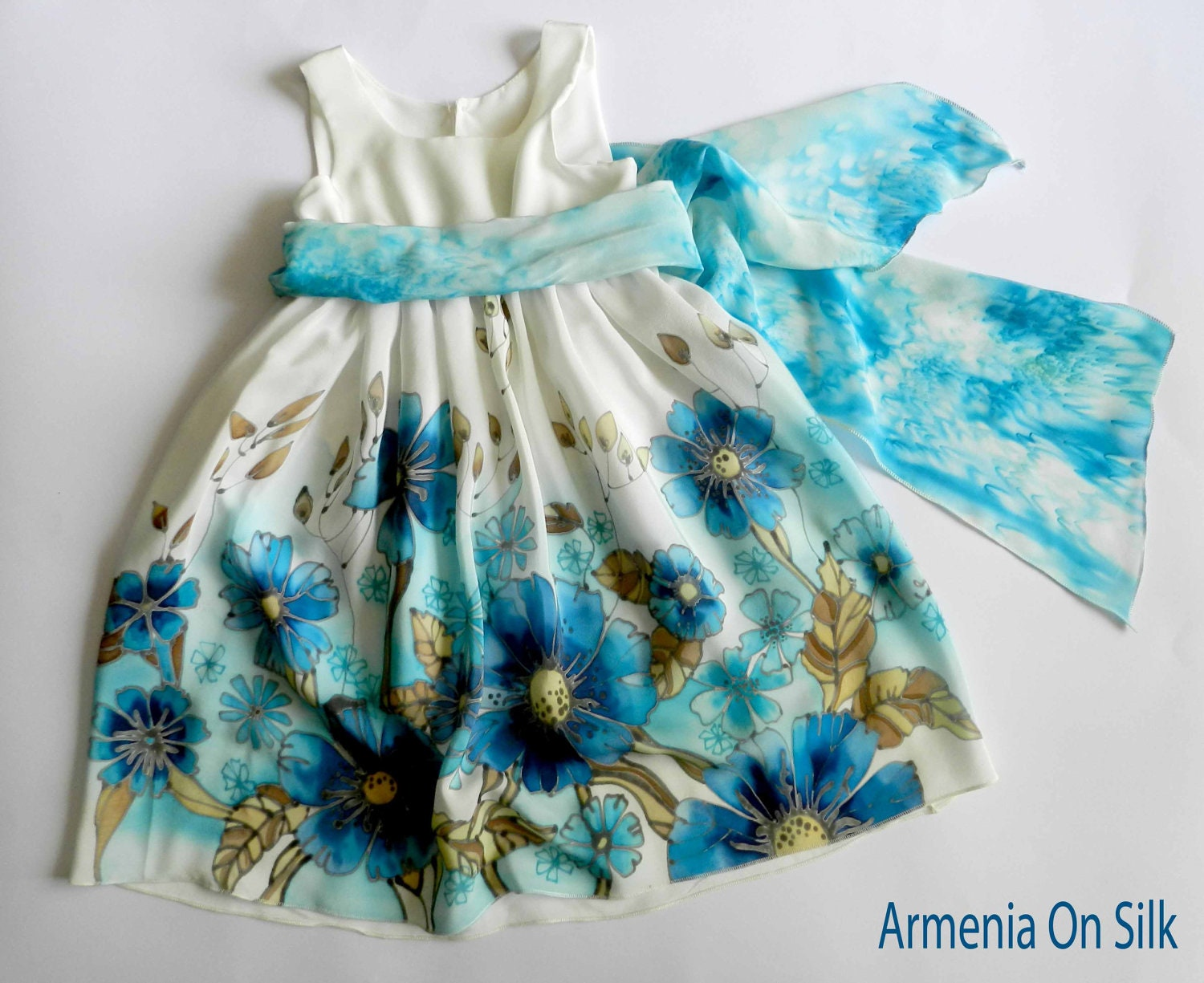 Flower silk dress hand painted for kids.Navy blue,  turquoise and  white  silk dress.Anniversary dress. Made to order. - ArmeniaOnSilk