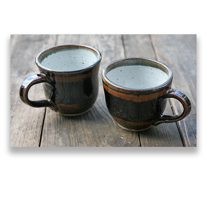 rustic coffee mugs wheel thrown stoneware by ceramicpix on