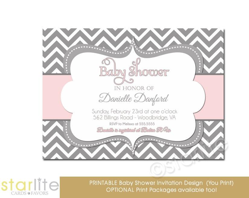 Pink Grey Chevron Baby Shower Invitation Bold Grey White