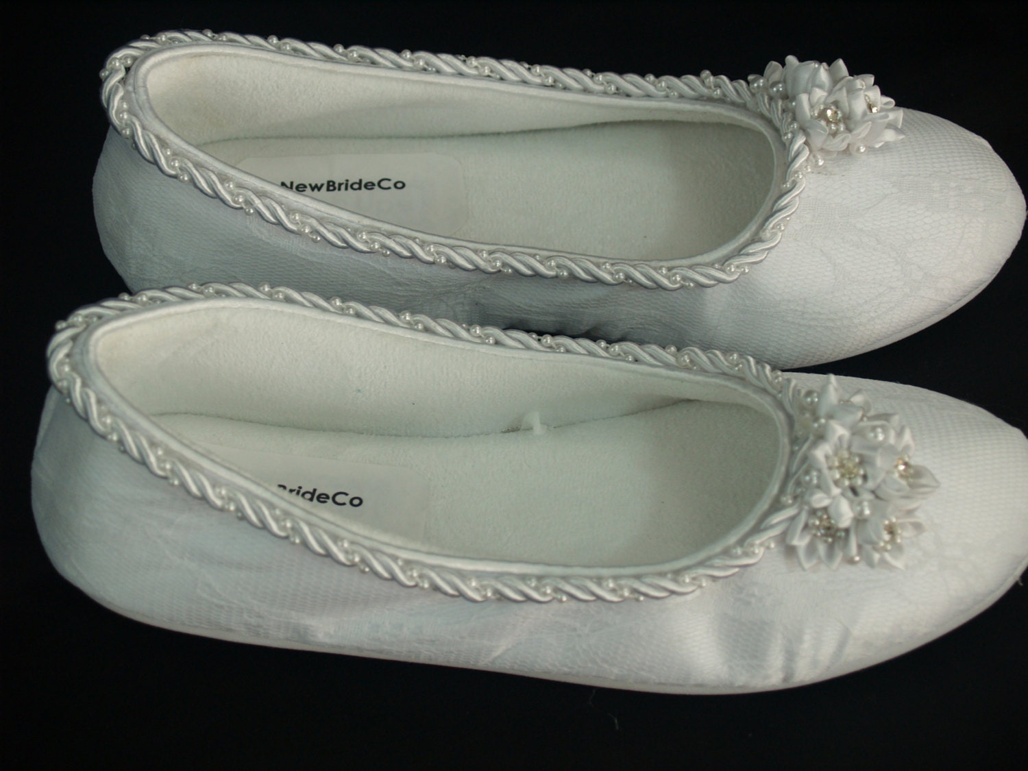 Comfortable Wedding Flats Embellished Shoes Satin By ...