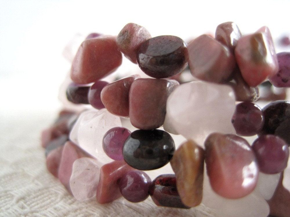 Rose Quartz Bracelet Multi Strand Natural Stone - StoneandFiber