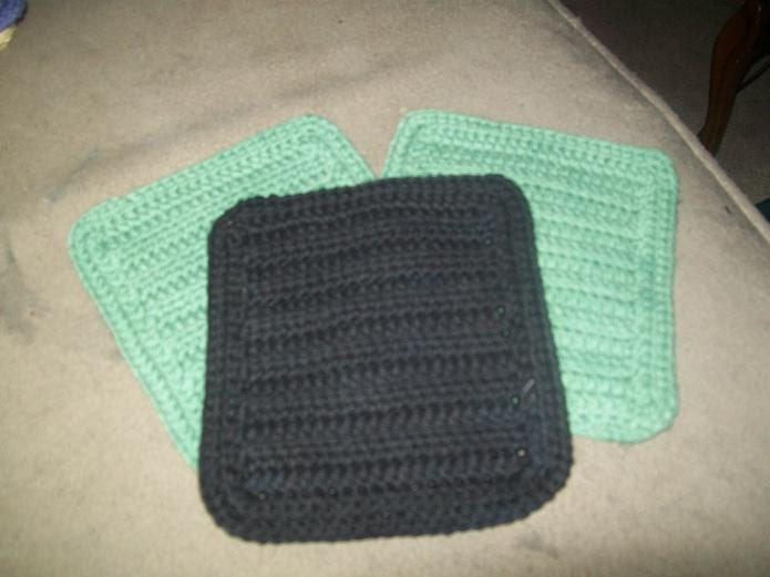 Cotton Crocheted Washcloths Set of 3 in Black and Sage