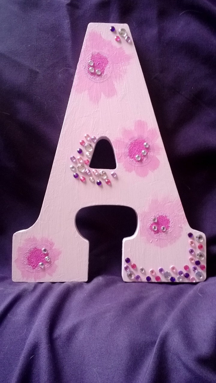 Baby Girl Hand Painted Initial Wall Hanging - LucidMebin