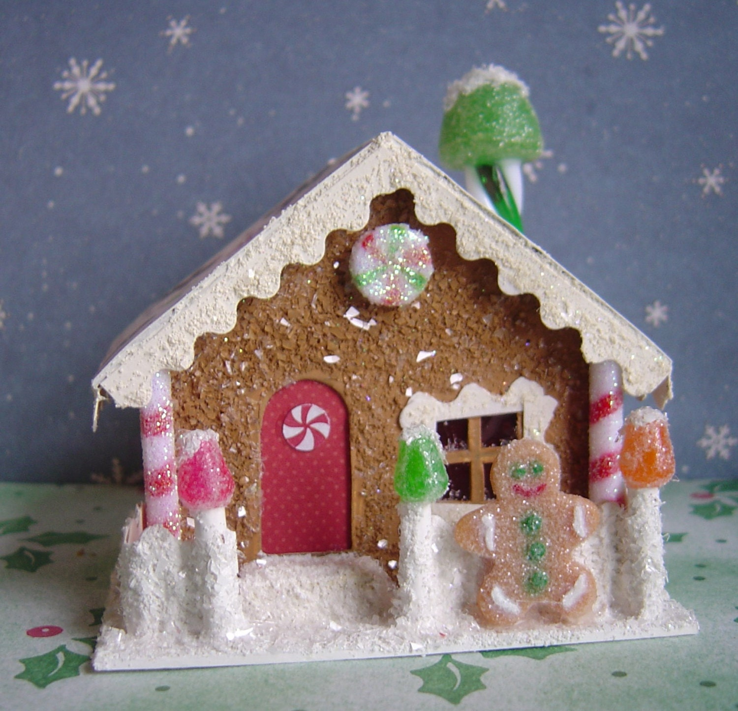 Christmas Village Paper Putz style by thesaltboxcollection on Etsy