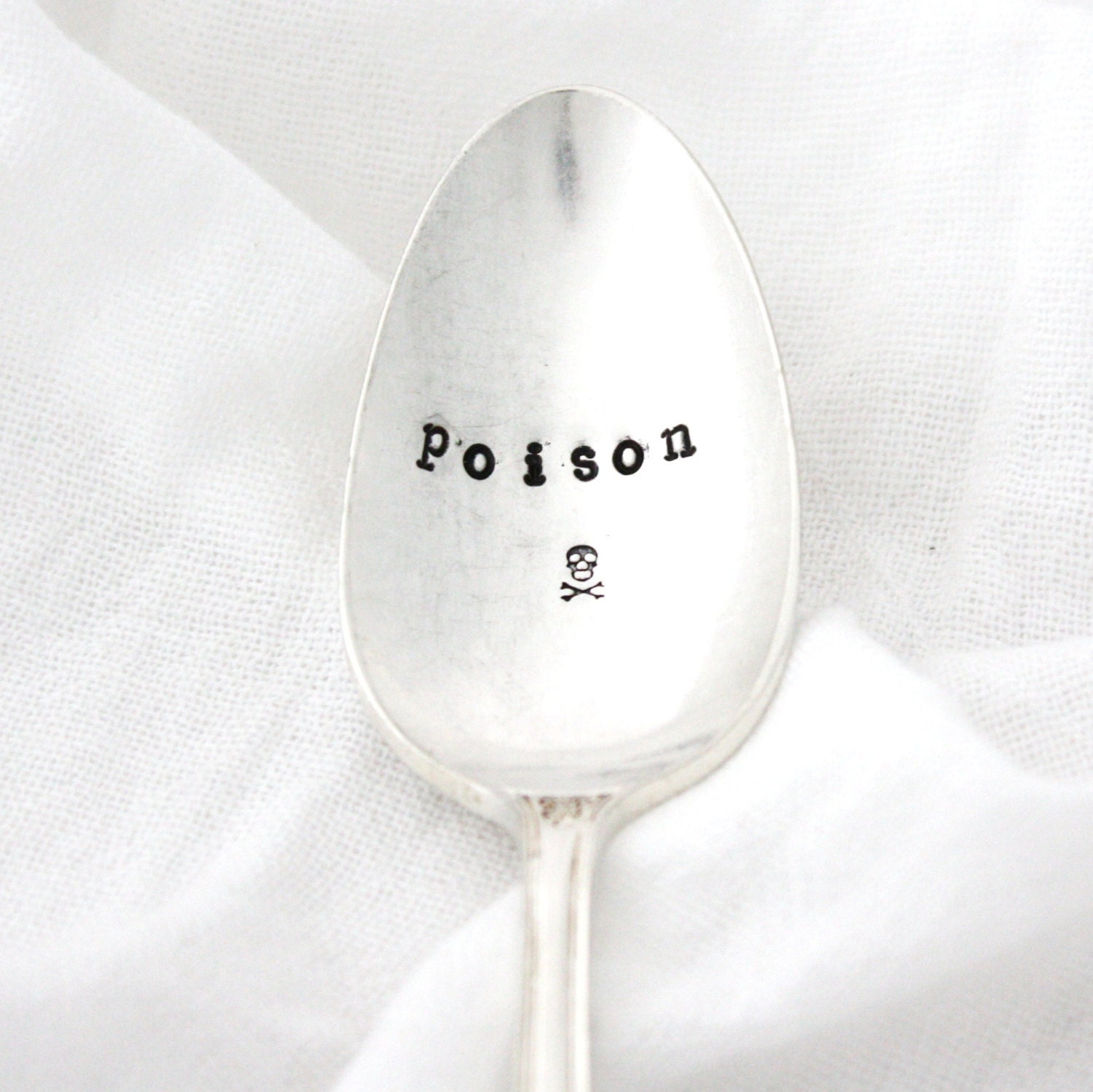 Poison spoon with skull & crossbones. hand stamped vintage tea spoon, Ready To Ship - MilkandHoneyLuxuries