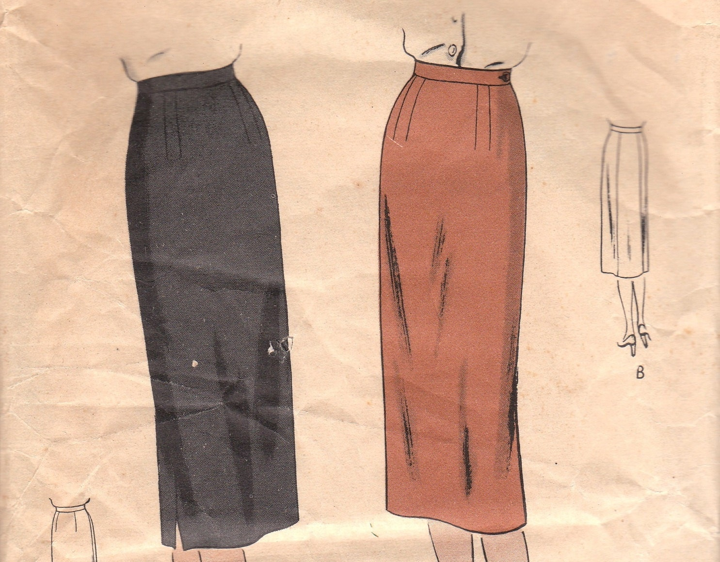 vintage vogue pencil skirt pattern 1940s 6003 by
