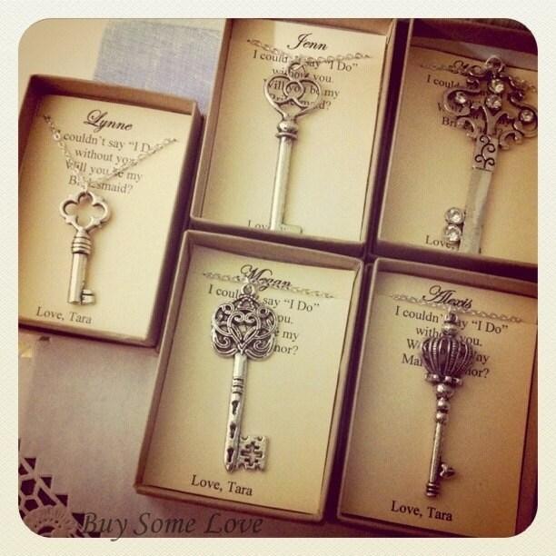 Wedding Gift Ideas On Etsy : Skeleton Key, Bridesmaids Thank You Gifts, Ask Bridal Party, Wedding ...