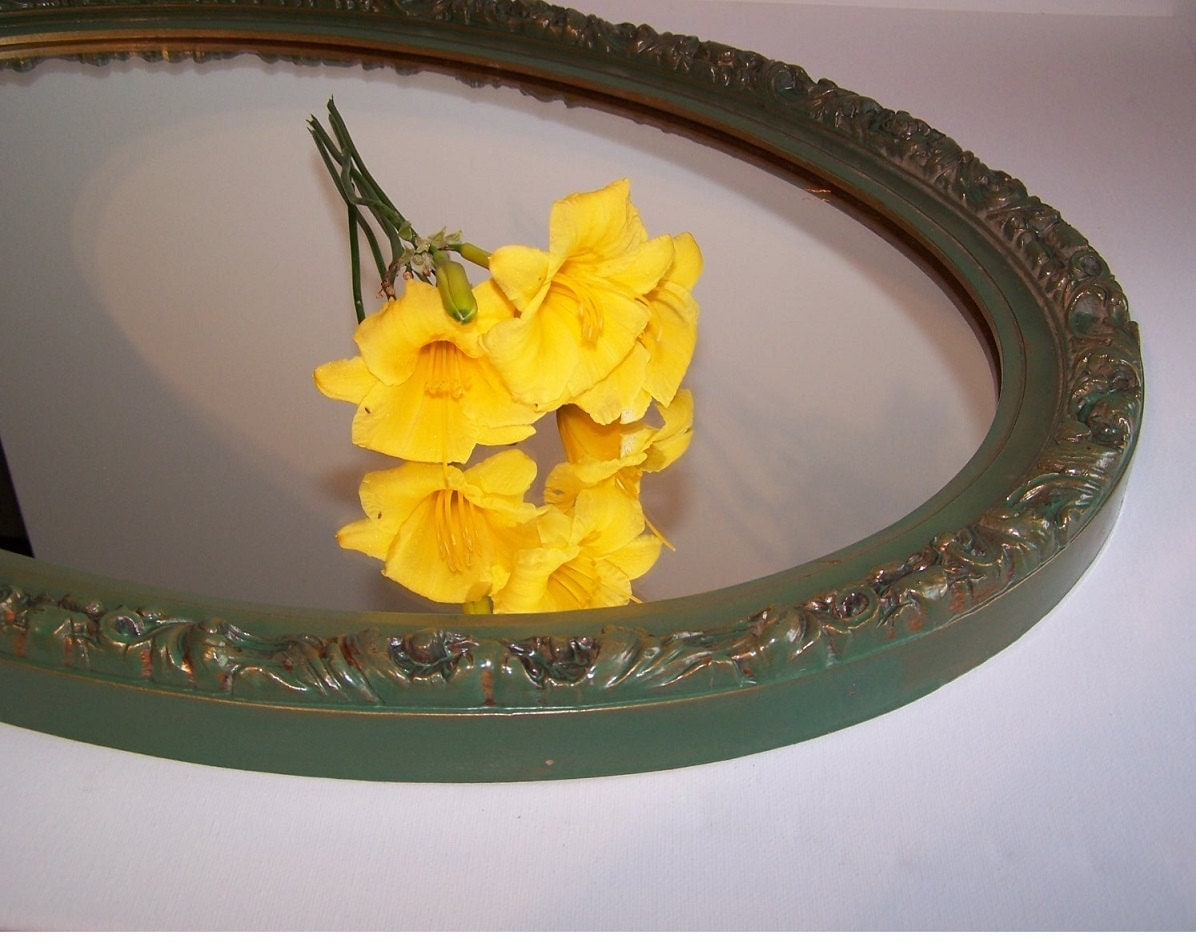 Large Oval Green and Gold Vintage Mirror - bauble2bijou