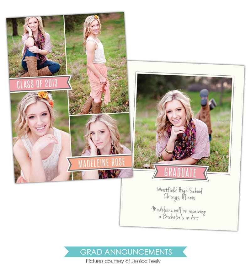 Instant download graduation announcement photoshop by for Free senior templates for photoshop