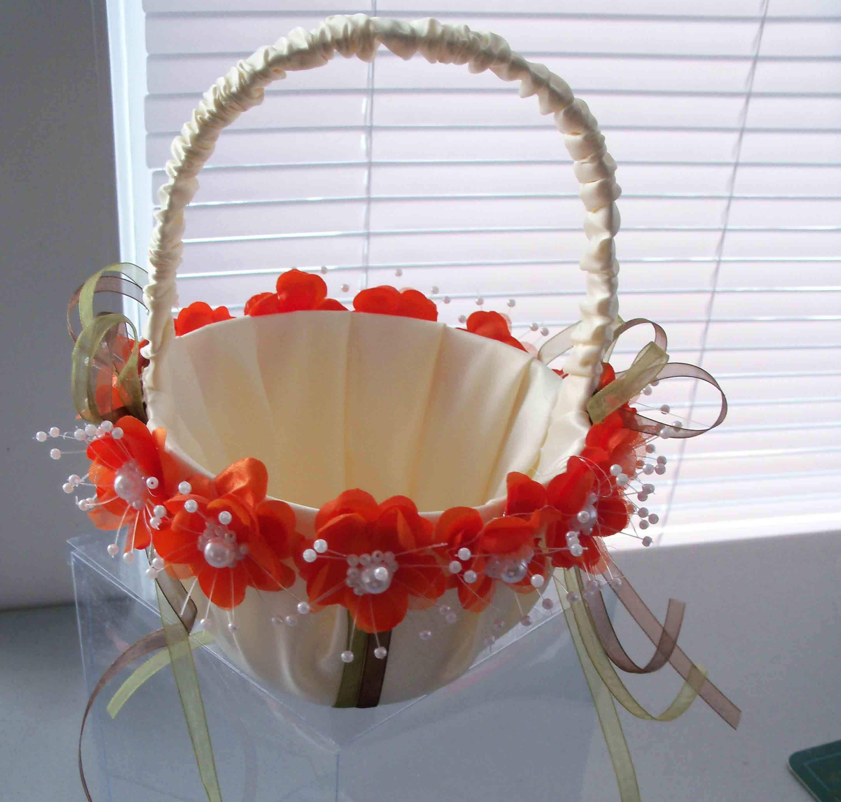 Flower Girl Baskets Green : Ivory flower girl basket moss green and brown by