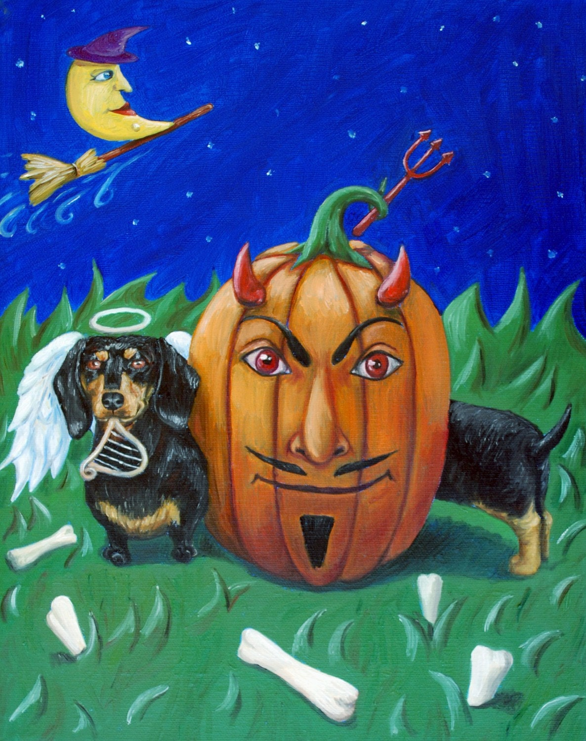 Halloween Dachshund Painting (FREE SHIPPING) - RebeccaTiano
