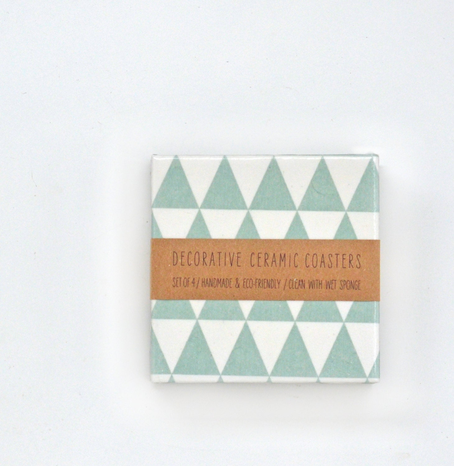 Tile Coasters Pale Mint Triangles Ceramic Coasters Pastel Modern Geometric Re-purposed, set of 4 - Tilissimo