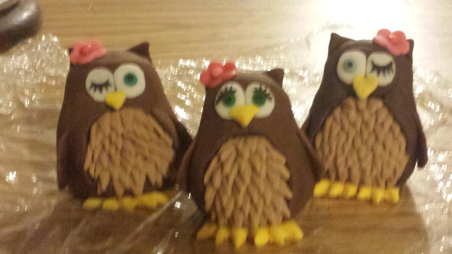 edible owl cake toppers made of gumpaste, weddings, baby showers, birthday cakes, party favors - MommyandMeWorkshop