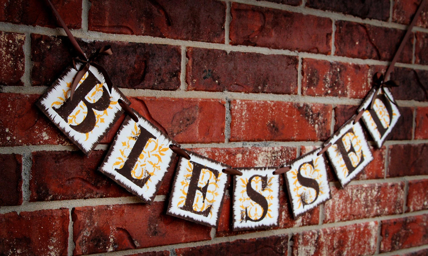 Blessed Banner (can customize colors): Mustard Yellow, Brown, Thanksgiving Banner, Thanksgiving Garland, Autumn Banner