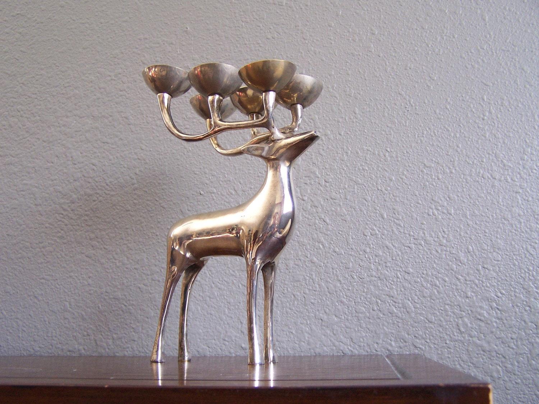 Vintage Silver Brass Elk Deer Candle Holder by ... Ruffled Glass Vase