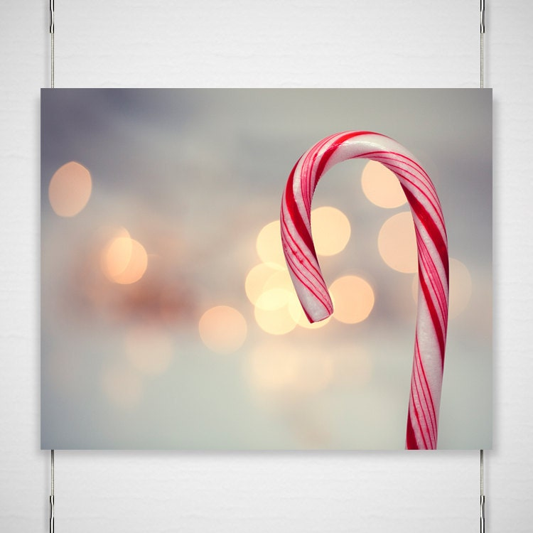 Christmas holiday photography - 8x10 red white festive striped snowy winter holiday wall home decor 'Candy Cane' - BokehEverAfter