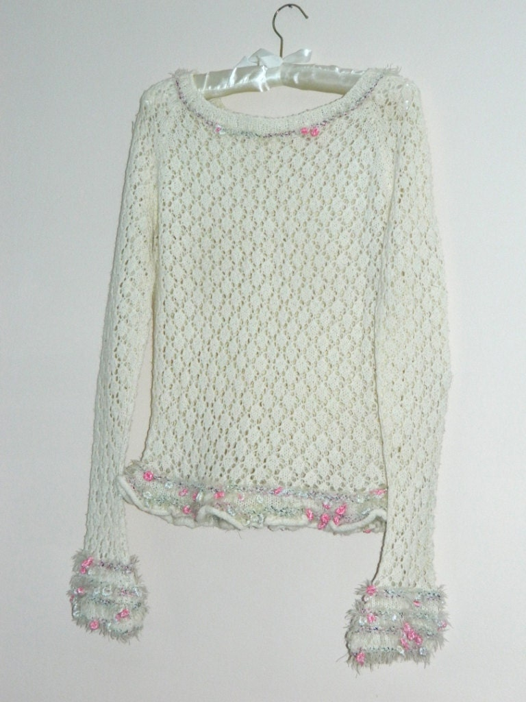 White Woman's Knitted Sweater - Hand Knitting for Women - Handmade size 10 - Lace - KatrinKnitting