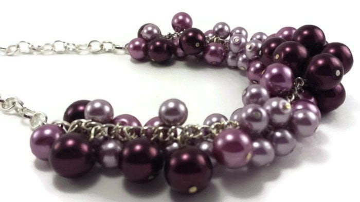 Lavender and Plum Beaded Cluster Necklace | Handmade Chunky Glass Pearl Beaded Casual Jewelry | Elegant Bridal Bridesmaid Wedding Necklace - TheValetGirl
