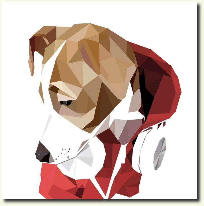 Modern Custom Geometric Portrait of your DOG, CAT or other PET - Digital File - WeekdayBest