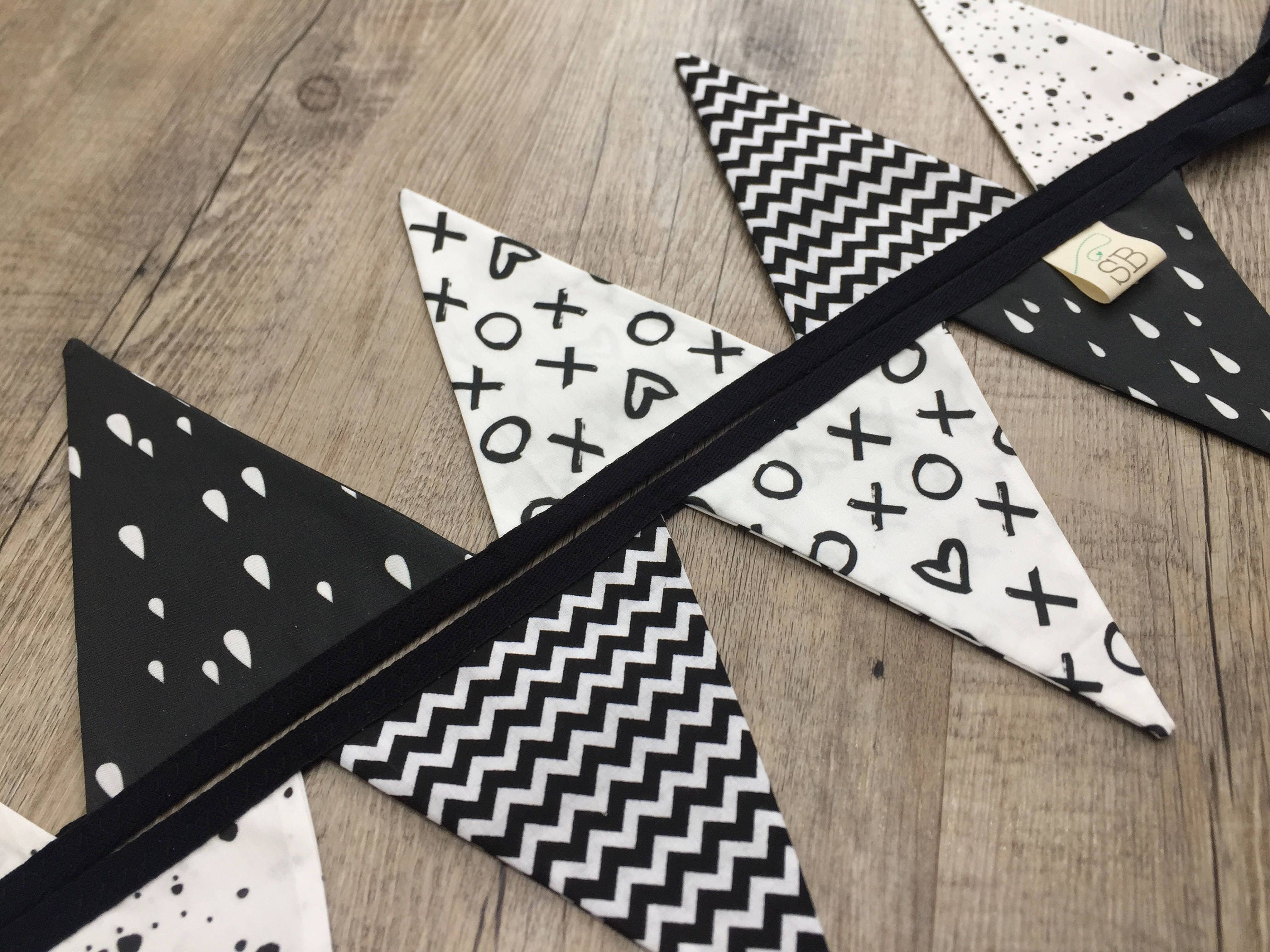Image of 100% Cotton Handmade Fabric Bunting // nursery decor Childrens room Monochrome Nursery black white theme scandi style chevrons