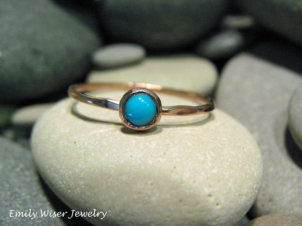 Turquoise Engagement Ring 14K rose gold From EmilyWiserJewelry
