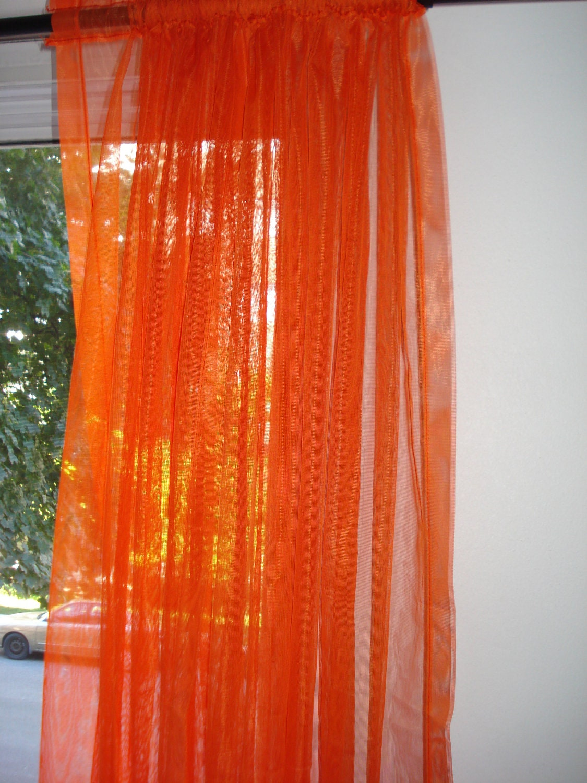 Orange Curtains Sheer Window Panels Vintage by LadybumbleVintage