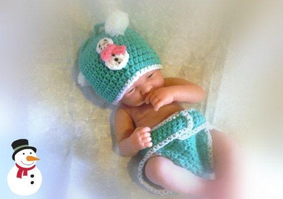 Snowman newborn crochet set photo prop crochet photography, Free Shipping,great gift idea,baby shower gift - Countrycutecrochet