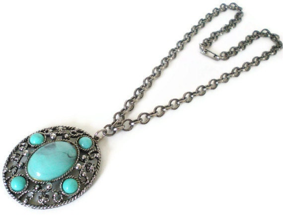 Vintage Southwestern Faux Turquoise Necklace 1970s Fashion