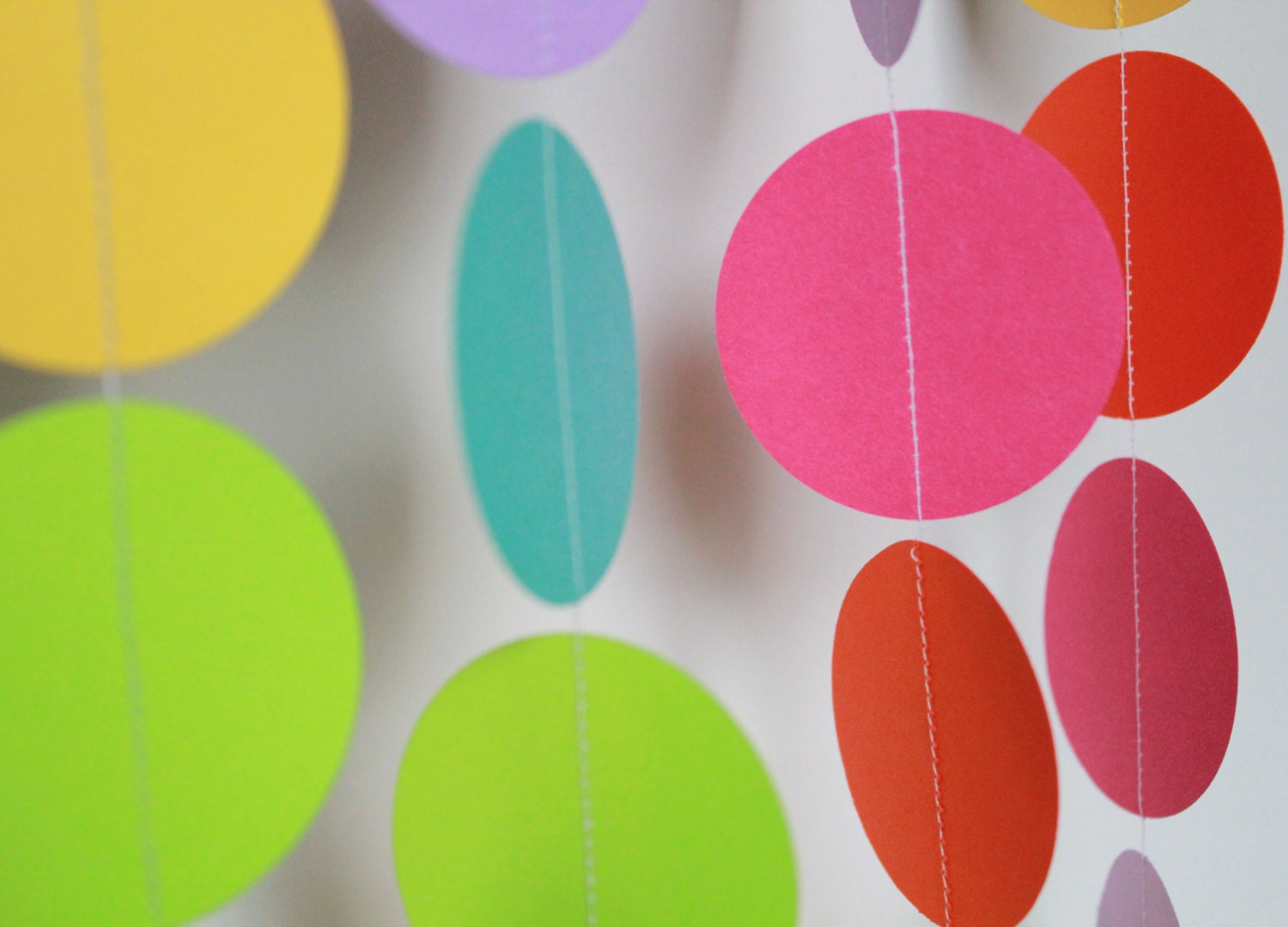 Birthday Party Decor . Paper Garland, Bright Rainbow Party Decoration ...