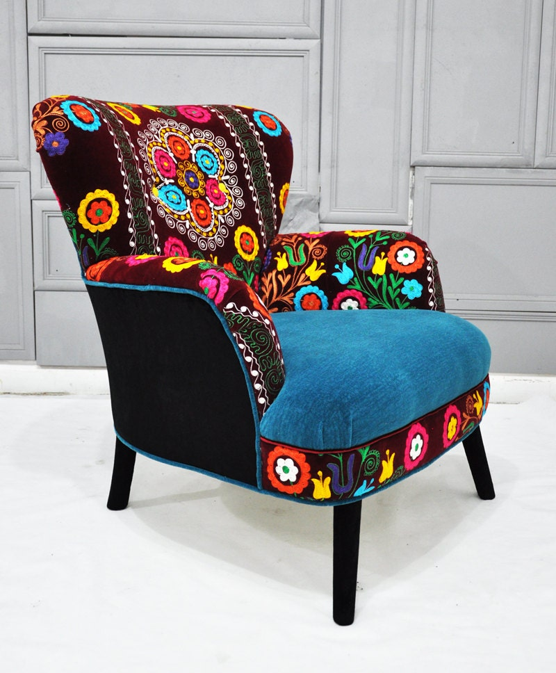 Patchwork Armchair With Suzani And Turquoise By