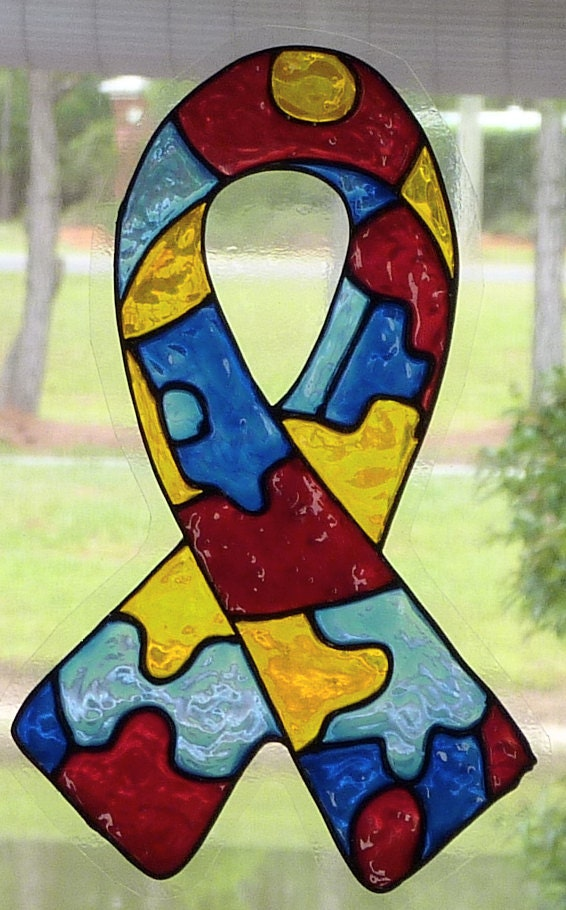 awareness ribbon autism window cling suncatcher by barbaranovak. Black Bedroom Furniture Sets. Home Design Ideas