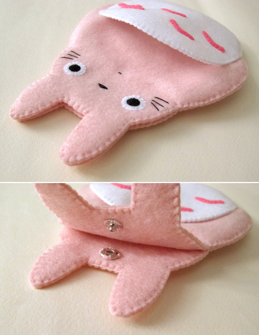 Meu Vizinho Totoro Big Camera iPhone bonito de Kawaii rosa feltro Caso o botão de fechamento do conto de fadas