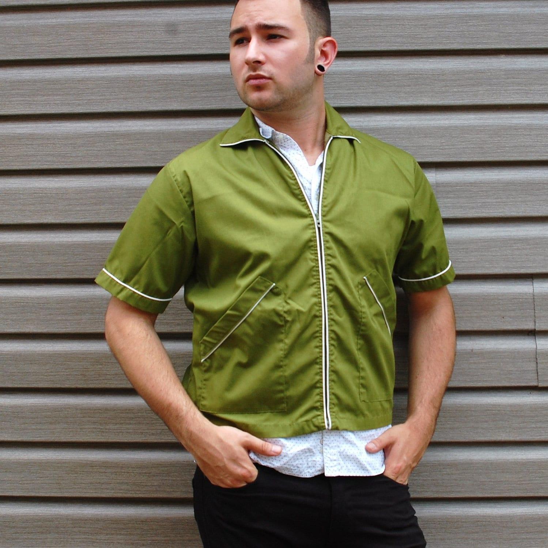 Vintage 1960s Men's Olive Green Cropped Bowling Jacket S/M - NevermoreVintage