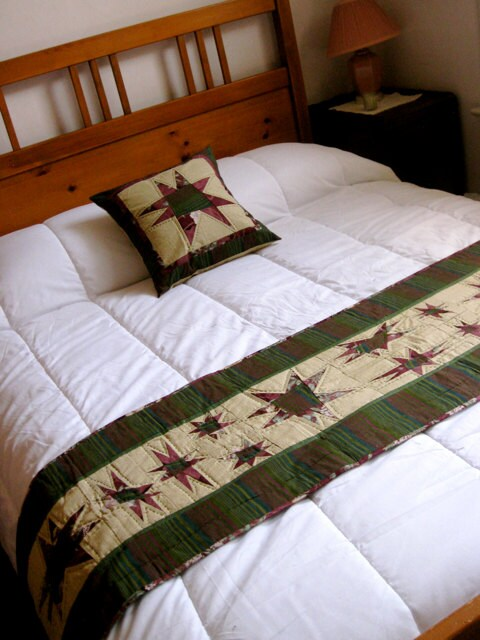 items similar to quilted bed scarf with matching pillow in