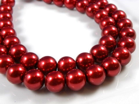 16mm Red Glass Pearl Beads - 12 pcs