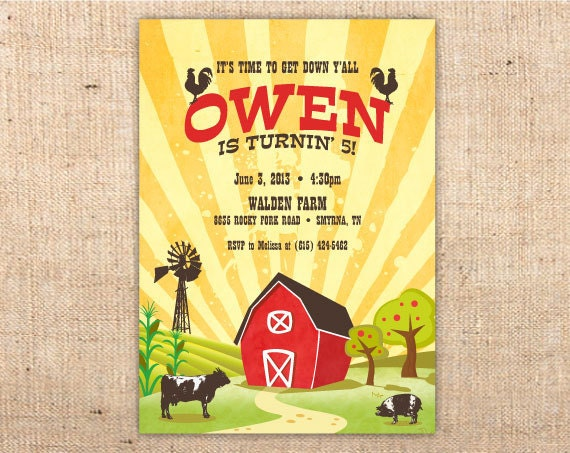 Farm Party Vintage Barnyard customizable party invitation