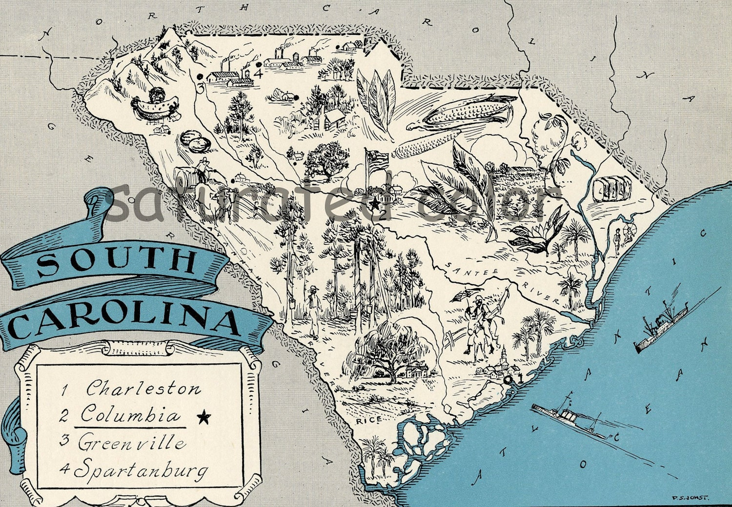 South Carolina Map Vintage Map Art High Res By SaturatedColor