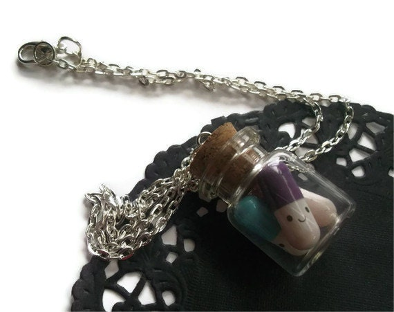 Items similar to kawaii message pill bottle necklace love for Pill bottle jewelry