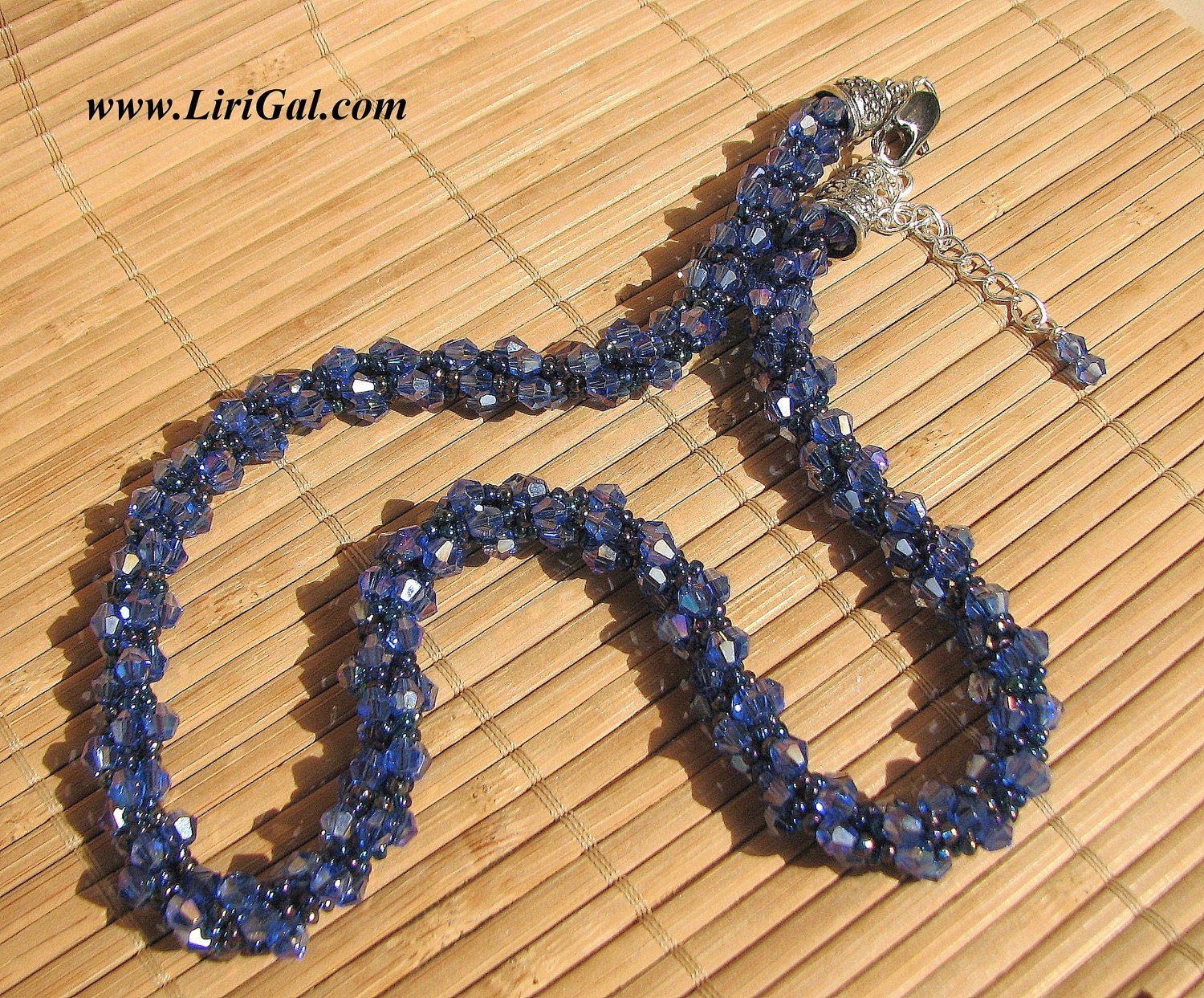 Blue Crystals Beaded Necklace