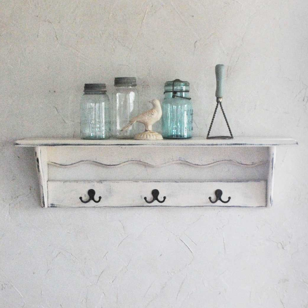 items similar to farmhouse shelf with hooks large shelf country white on etsy. Black Bedroom Furniture Sets. Home Design Ideas